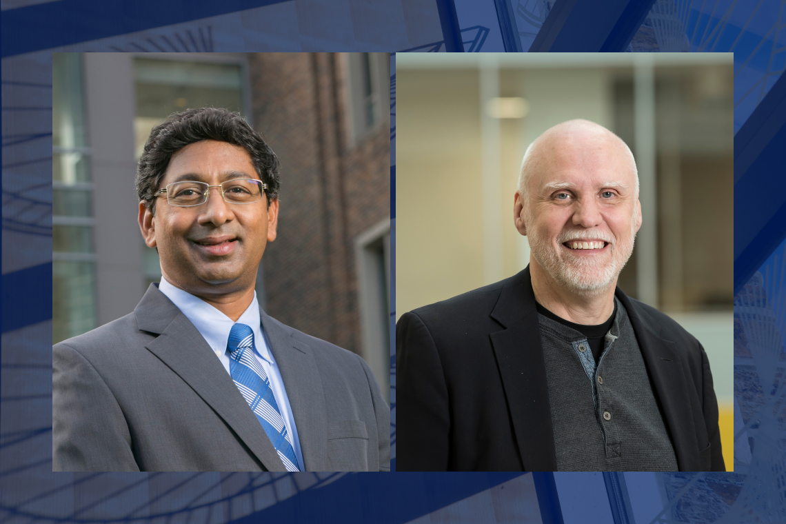 Pratt Dean Ravi Bellamkonda and Jeffrey Glass, who will become interim dean in June.