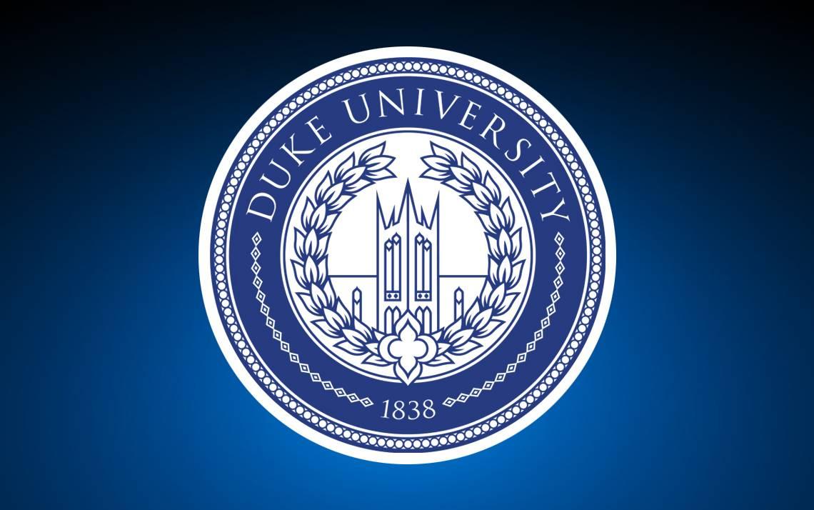 Duke University logo against blue background.