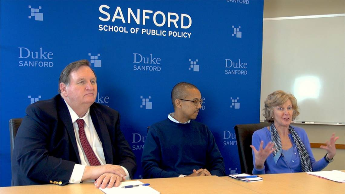 Duke's Kelly Brownell, Gary Bennett and Elisabetta Politi (from left to right) discuss diet and health Thursday, Nov. 9, 2017 at Sanford School for Public Policy
