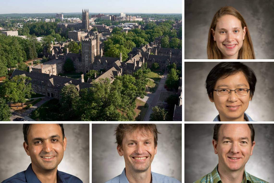 New hires for the quantitative initiative include, from top: Amy Goldberg, Xiuyuan Cheng, Peter Hoff, Nicolas Brunel and Iman Marvian.
