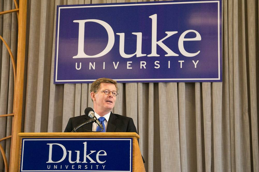Vincent Price is introduced to the Duke community at a public event Friday in Penn Pavilion. Photo by Duke Photography