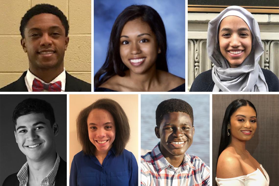 The Class of 2023 Reginaldo Howard Scholars, clockwise from top left: Eric Huey; Sydney Hunt; Leena Mohamedali; David Radvany-Roth; Hannah Shuffer; Kevin Wiafe; and Nia Williams.