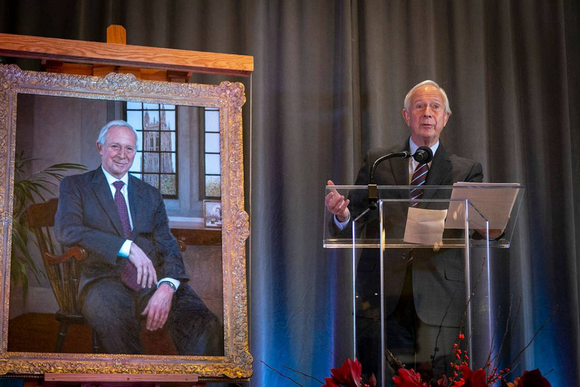 Richard Brodhead reflects on Duke University during the unveiling of his portrait Friday. Photo by Megan Mendenhall
