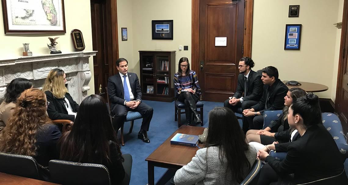 Duke students meet with Sen. Marco Rubio (R.-Fla.) to discuss the DACA program. Photo by Jeff Harris