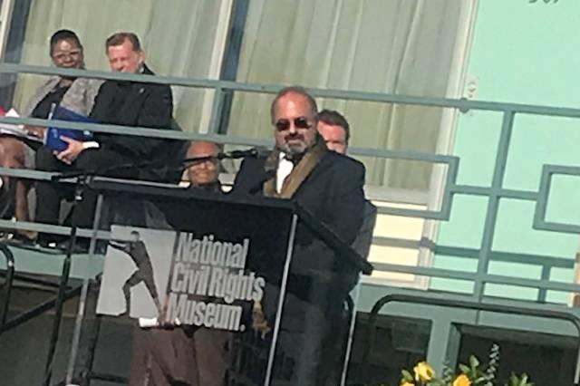 Omid Safi, director of the Duke Islamic Studies Center, speaks at the Lorraine Motel ceremony.