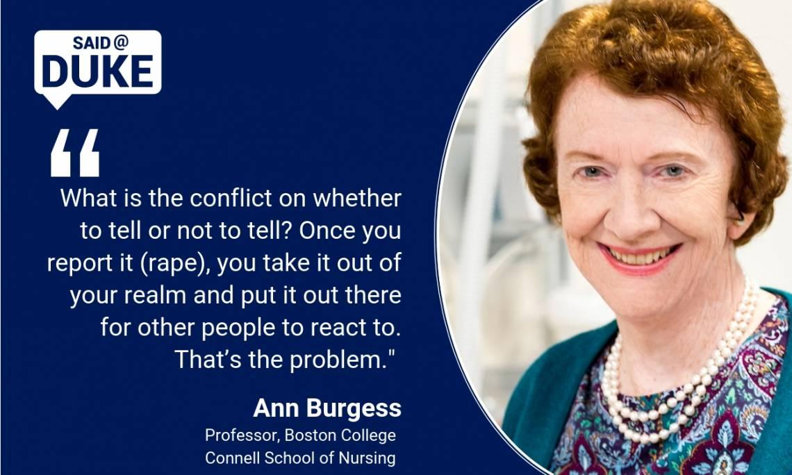Ann Burgess: Have we advanced on rape trauma?