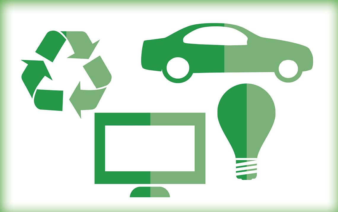 A graphic with a computer, a car, a light bulb and a recycling symbol.