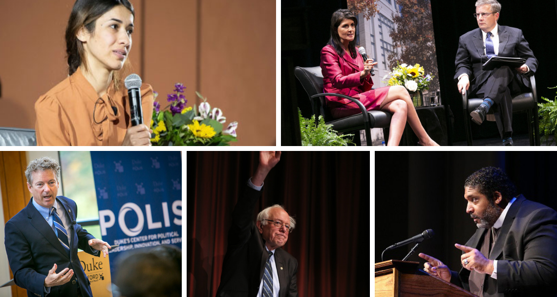 Speaking at Duke: From top left, Nadia Murad; Nikki Haley (with Peter Feaver; Rev. William Barber; Sen. Bernie Sanders; and Sen. Rand Paul.