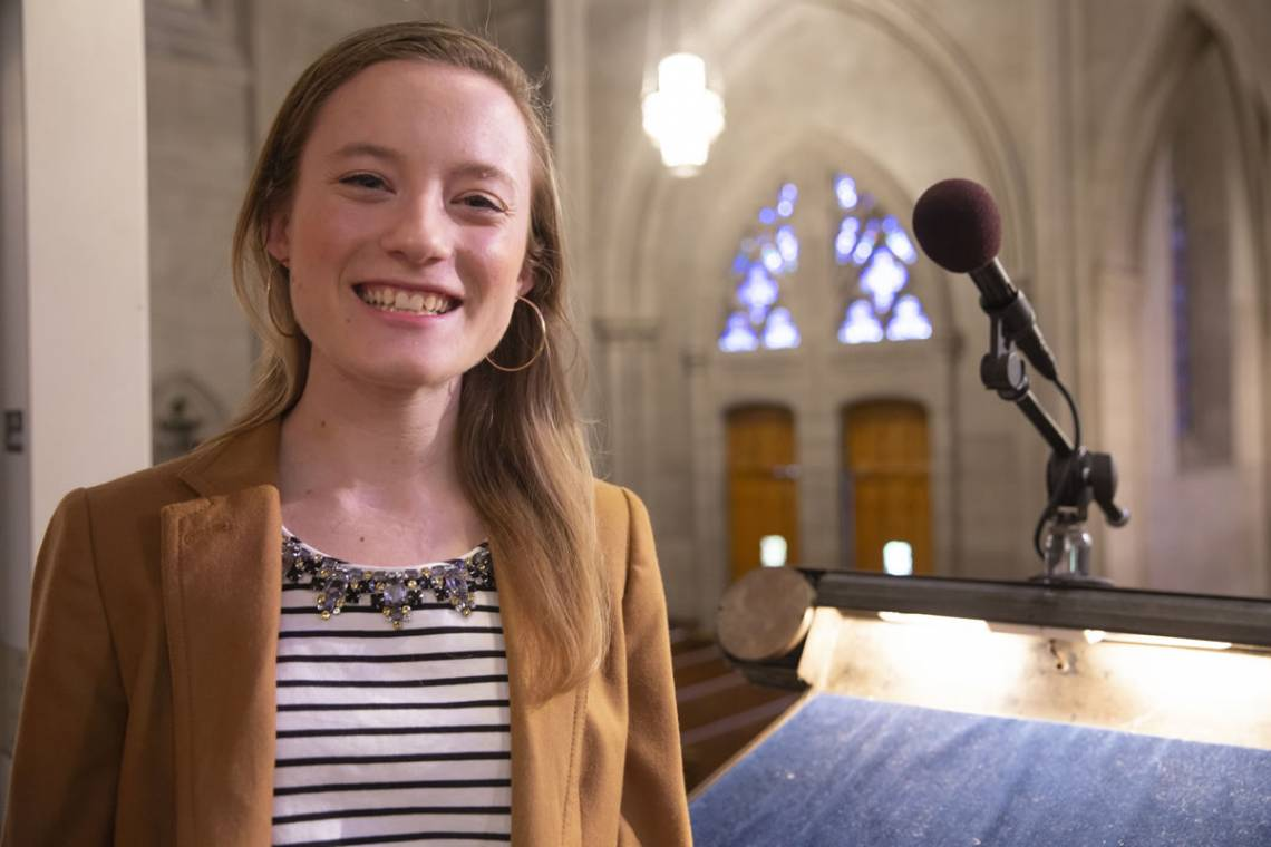 Duke senior Janie Booth will base her sermon on the sixth chapter of the Gospel of Luke.