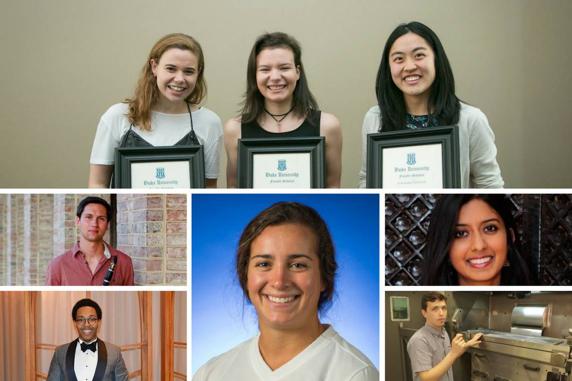 Clockwise from top: Faculty Scholars Caroline Fernelius, Gabrielle Stewart and Karen Xu (not pictured are Lauren Bunce and John Lu); Truman Scholar Maya Durvasula; Sanford Morton (Engineering); Christina Gibbons (Athletics Award); Henry Washington (Africa