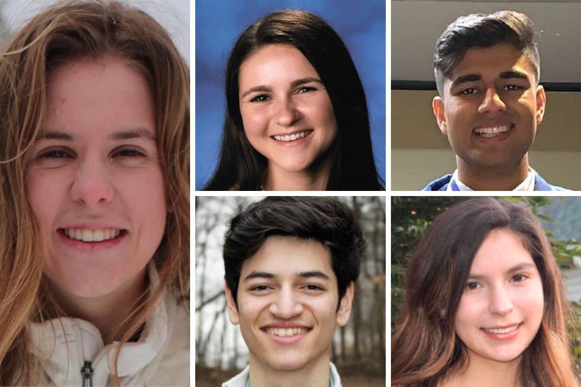 The Class of 2023 Trinity Scholars, clockwise from left: Avery Garmon; Lauren Howard; Mehul Jain; Victoria McReynolds; and Sebastián Sánchez.