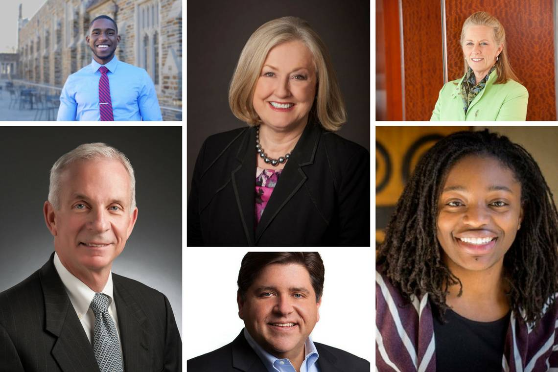 New Duke trustees: Clockwise from top left, Uzoma Ayogu; Laura Wellman; Kathryn Hollister; Erika Moore; J.B. Pritzker; and L. Frederick Sutherland.
