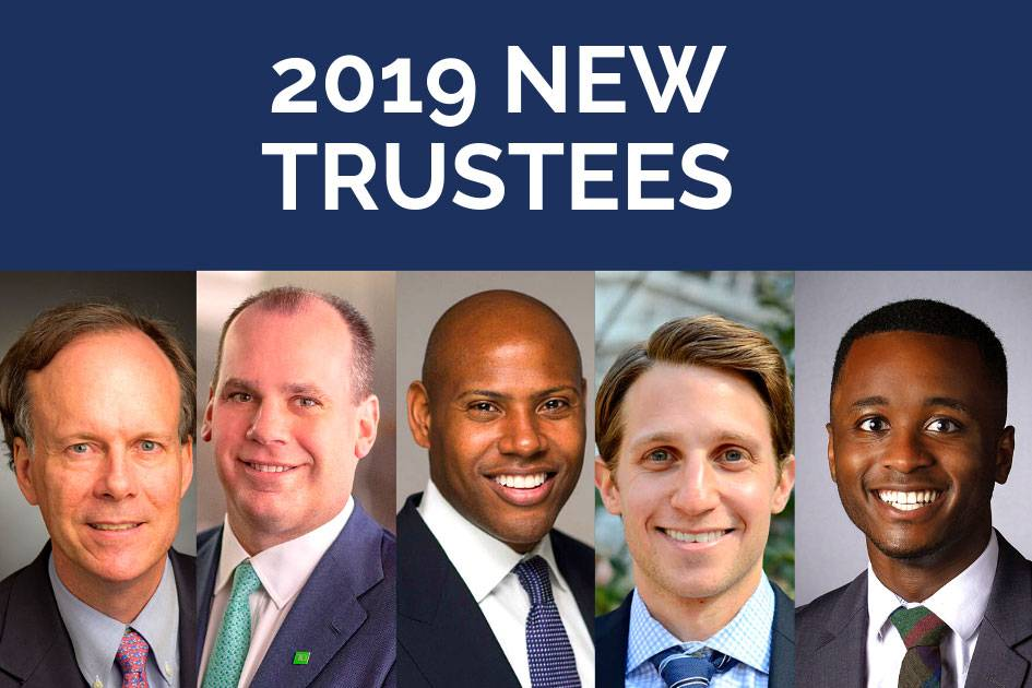 New trustees, from top left: Dr. William Kaelin Jr, Michael Rhodes, Mychal Harrison, William Brody and Trey Walk. Image by Maya O'Neal.