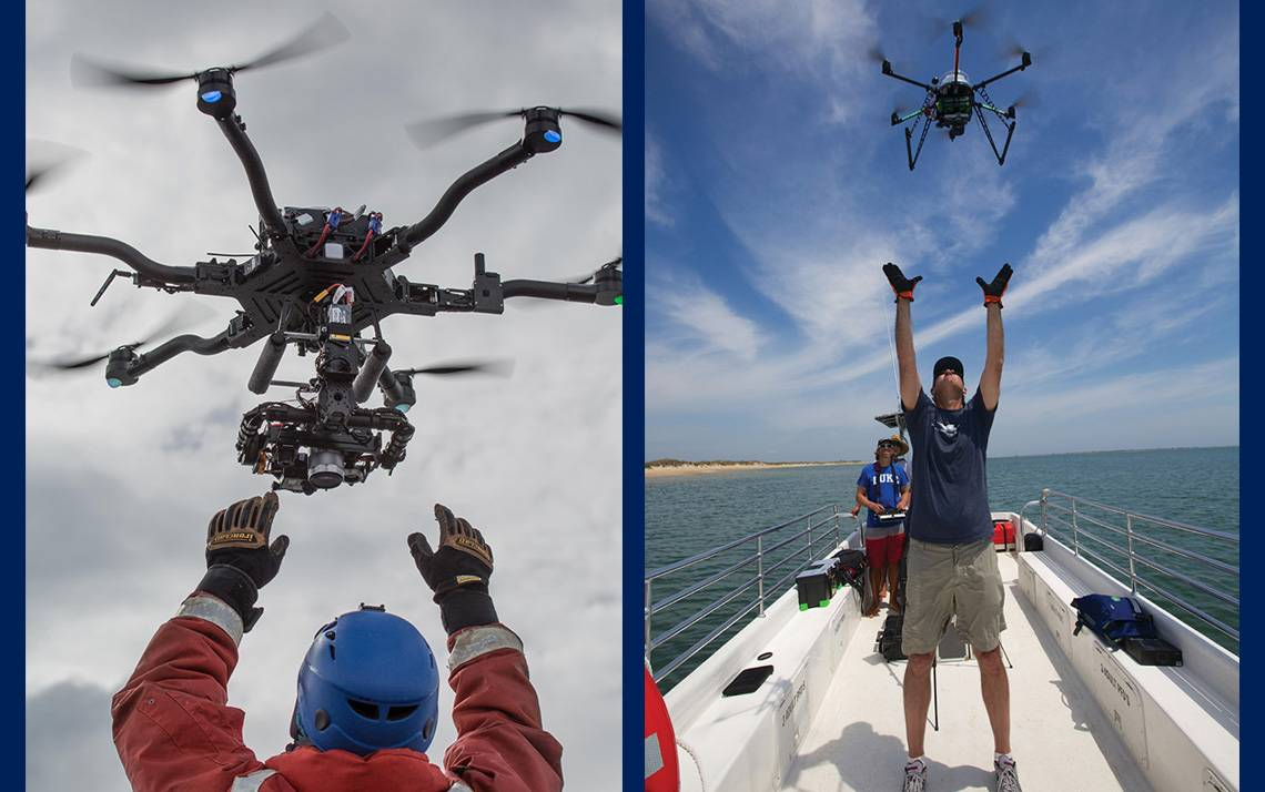 Left: David Johnston catches a drone during field work in Antarctica. Right: Rett Newton readies to catch a drone at Cape Lookout. Photos taken during permitted research and courtesy of Duke Marine Robotics & Remote Sensing Lab.