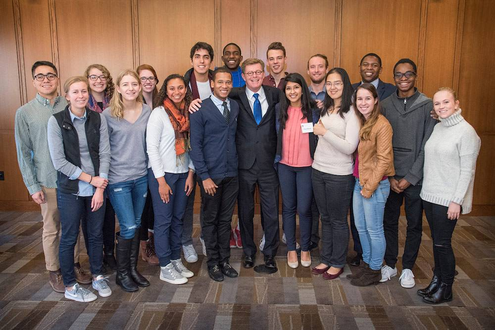 After his election by trustees, President-Elect Vincent Price started his campus tour by meeting with a number of students. Photo by Duke Photography