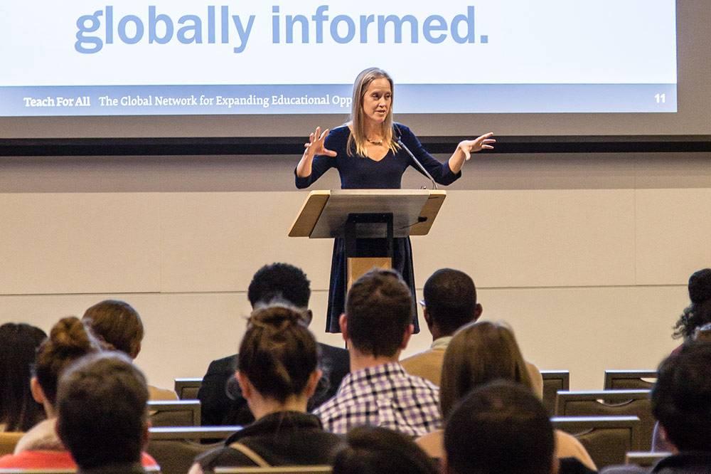 Teach for America founder Wendy Kopp advises students on using entrepreneurship to address social problems. Photo by Pilar Timpane