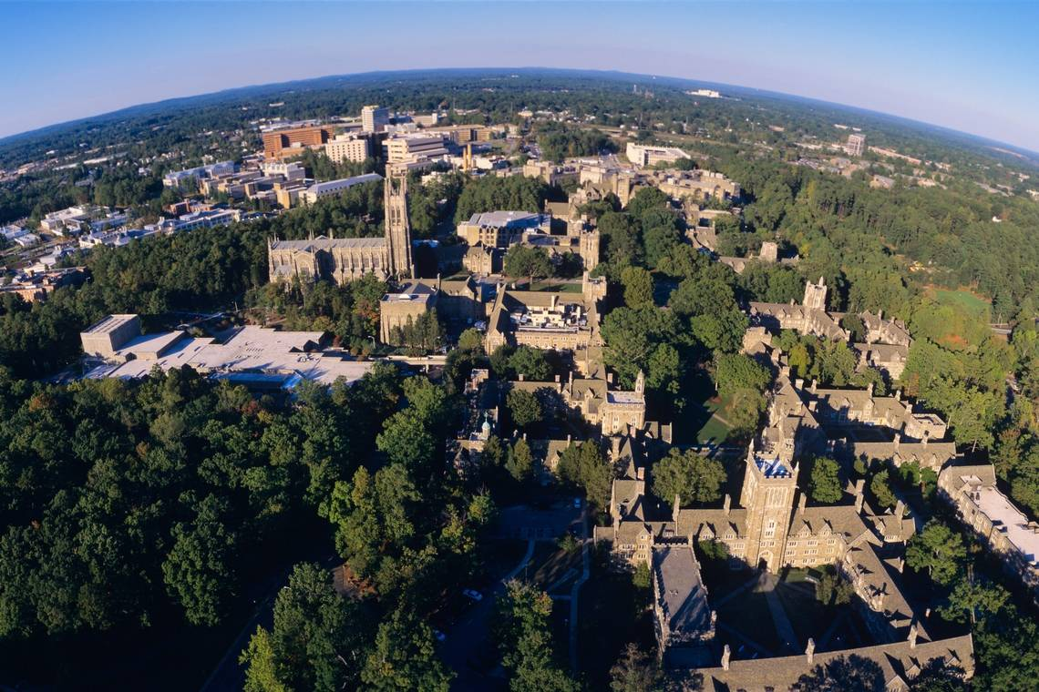 A bird's eye view of Duke University's West Campus