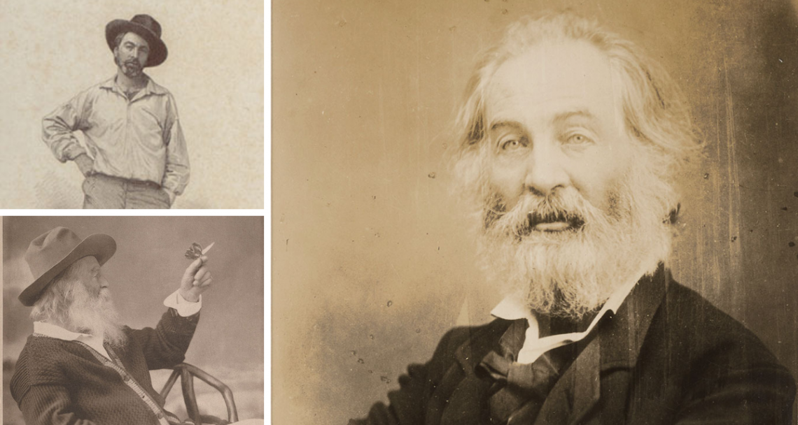 The many faces of Walt Whitman: Clockwise from Top: The 1855 Leaves of Grass portrait; Mathew Brady portrait of Whitman, ca. 1865; Whitman with a butterfly, ca 1877