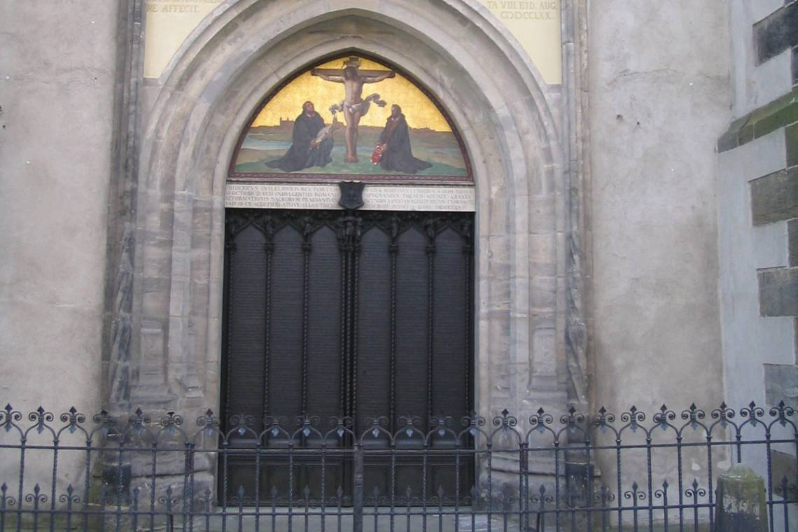 The church door in Wittenberg, Germany, where Martin Luther nailed his 95 Thesis. Photo via Wikimedia Commons.