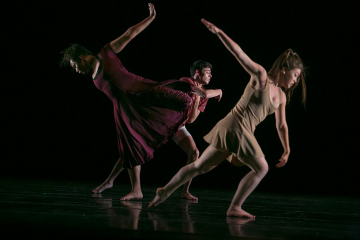 Students rehearse their modern dance performance,
