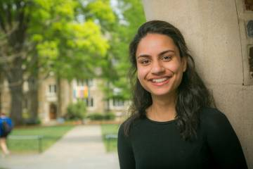 A discussion with a local girl had Deeksha Malhotra thinking about what she has learned at Duke. Photo by Jared Lazarus