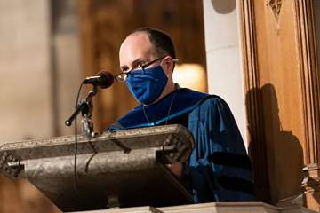 Edgardo Colón-Emeric speaks at his installation as Divinity Dean