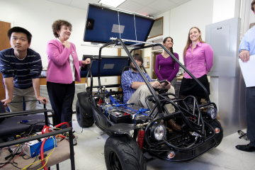 Undergraduate students in Energy & Environment present capstone projects to Emily M. Klein, professor and chair of Earth and Ocean Sciences of the Nicholas School of the Environment. A $20 million gift from the Grainger Family Descendants Fund will bolste