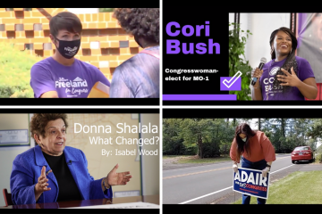 Stills from the documentary films made by students about women in politics