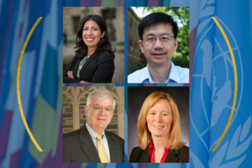 Clockwise from top left: Duke global health experts Andrea Thoumi, Shenglan Tang, Michael Merson and Sarah Bermeo.