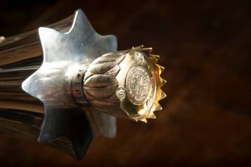 The crown of the university mace. Photo by Jared Lazarus/Duke Photography