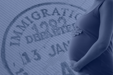 graphic image. of pregnant woman against ICE logo