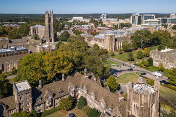 Campus aerial photo of Duke University and of Duke Health