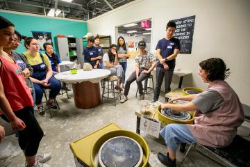 Students participate in the DukeCreate Ceramics Studio at the Arts Annex.