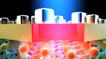 An artistic rendering of a new type of multispectral imaging detector. Depending on their size and spacing, nanocubes sitting on top of a thin layer of gold trap specific frequencies of light, which heats up the materials beneath to create an electronic s