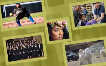 A collage featuring images of a softball player, a science event, people walking, a choral group and a woman with a flower crown.