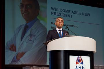 Dr. Swaminathan delivering his ASE presidential address at the 30th Annual Scientific Sessions (photo courtesy of ASE)