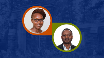 Grace Musila (left) and Eric Mvukiyehe will join the Trinity faculty this year.