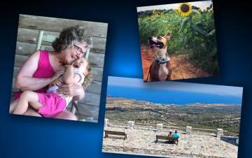 Three photos against a blue background.