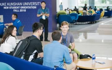 Duke Kunshan University students bond during move-in day Monday.