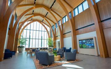 The Pitts Family Atrium provides a stunning welcome to the Karsh Alumni and Visitors Center. Photo courtesy of Duke Alumni Affairs.