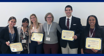 Sophie Hurewitz, Rushina Cholera, Ainsley Buck, Eliana Perrin, Aaron Pankiewicz and Stephanie MacPherson at the Academic Pediatric Association Region IV Annual Meeting in February 2020. Undergraduate team members Hurewitz and Buck received the student abs