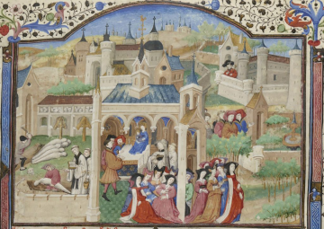 The Black Death in Florence. Decameron. BNF Fr. 239, f. 1r.