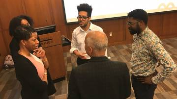 Dean Valerie Ashby (left) and Vice Provost Abbas Benmamoun (back to camera), spoke with Patrice Douglass, Gustavo Silva and Jarvis McInnis at the kick off of Black Think Tank.