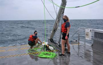 Researchers prepare to launch magnetometer from the deck fo the R/V Shearwater during a recent trip to search for shipwrecks. Photo courtesy of Matthew Dawson.