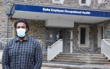 Brandon Harper, a former Duke Football player, is now a lead contact tracer for Duke Employee Occupational Health & Wellness. Photo by Jonathan Black.