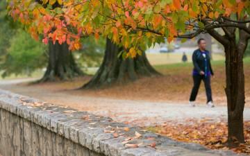 People walking on campus.