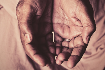 the hands of care workers