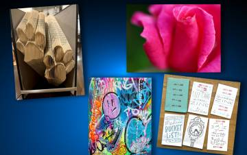 Duke employees have been improving their well-being during the pandemic by creating art. From top left clockwise, art by Anna Johnson, William Hanley, Janelle Hutchinson and Johnny Vega.