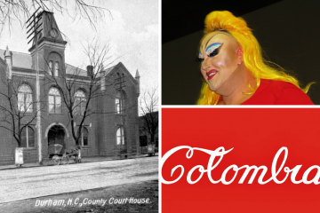 OLLI courses cover topics far, wide and interesting: From left, the first Durham County Courthouse, the cult film actor Devine, and art from Pop America.