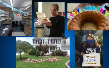 Duke employees have found creative ways to celebrate colleagues birthdays, including decorating workspaces and front yards, sending along sweet treat and other thoughtful gestures.